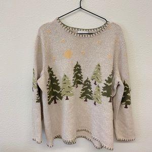 Xmas Tree Moon & Stars Embroidered Sweater